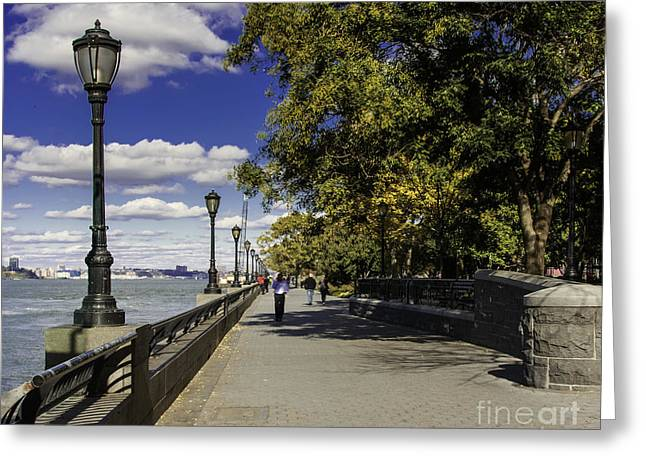 Illuminate Greeting Cards - The Esplanade NYC in Battery Park   Greeting Card by  ILONA ANITA TIGGES - GOETZE  ART and Photography