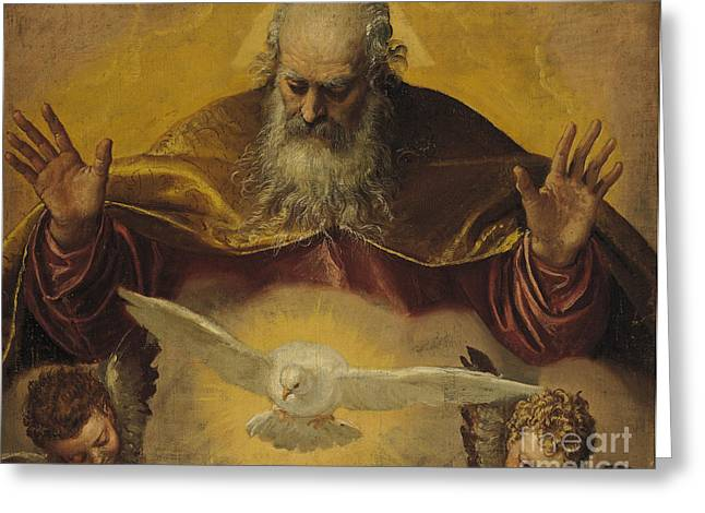 Recently Sold -  - Seraphim Angel Greeting Cards - The Eternal Father Greeting Card by Paolo Caliari Veronese