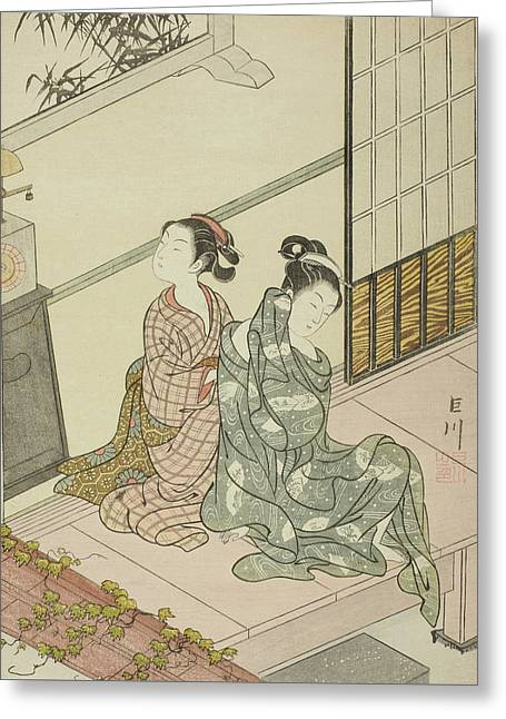 The Evening Bell Of The Clock  Greeting Card by Suzuki Harunobu