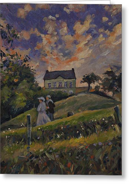 Limburg Paintings Greeting Cards - The evening stroll around the Hoeve Zonneberg Greeting Card by Nop Briex