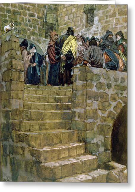 High Stepping Greeting Cards - The Evil Counsel of Caiaphas Greeting Card by Tissot
