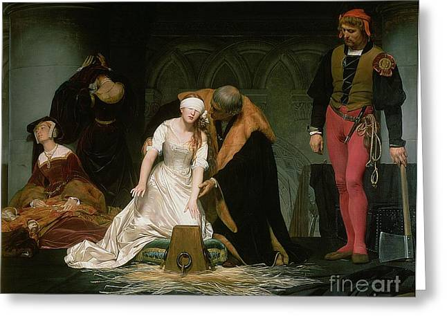 Knelt Paintings Greeting Cards - The Execution of Lady Jane Grey Greeting Card by Hippolyte Delaroche