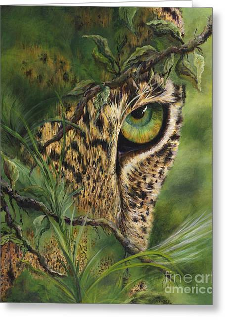 Large Cats Greeting Cards - The Eye Greeting Card by Myra Goldick