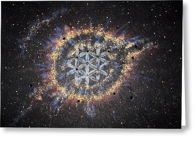 Helix Paintings Greeting Cards - The Eye of God - Helix Nebula Greeting Card by Murielle Sunier