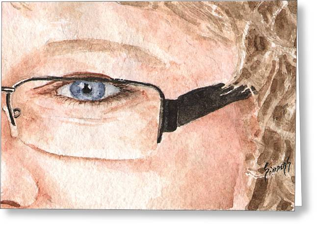 Face Greeting Cards - The Eyes Have It - Donna Greeting Card by Sam Sidders