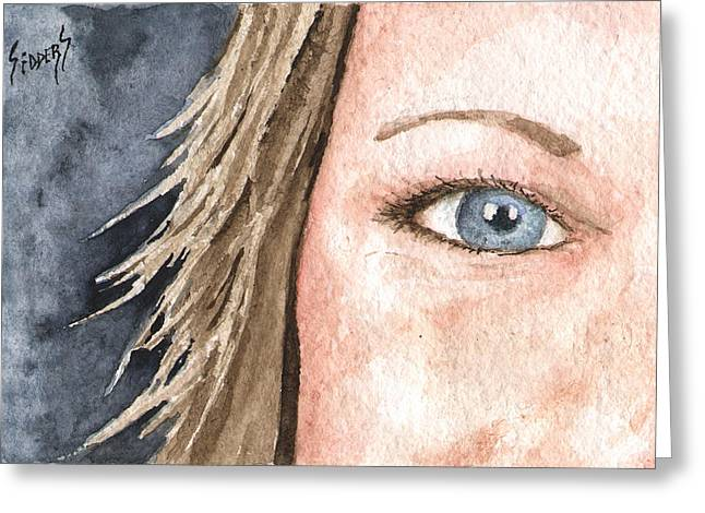 Protrait Greeting Cards - The Eyes Have It - Jill Greeting Card by Sam Sidders