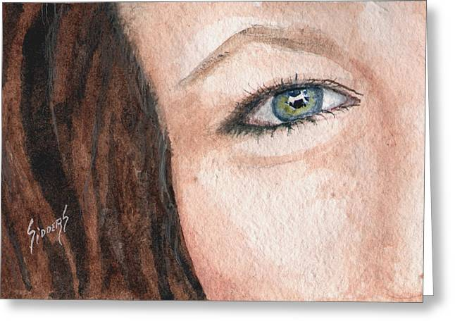 Face Greeting Cards - The Eyes Have It-Jenifer Greeting Card by Sam Sidders