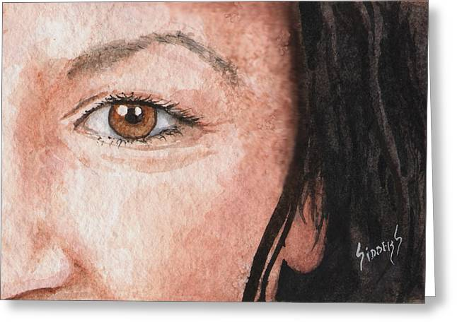 Face Greeting Cards - The Eyes Have It- Jessica Greeting Card by Sam Sidders