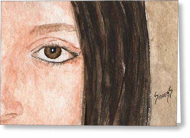 Face Greeting Cards - The Eyes Have It- Katelyn Greeting Card by Sam Sidders
