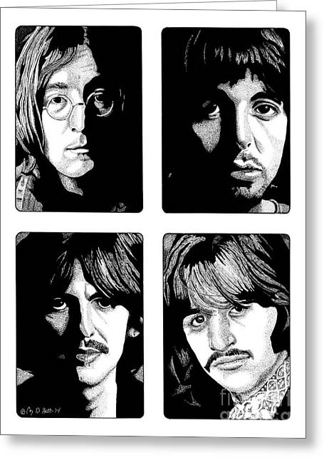 Paul Mccartney Drawings Greeting Cards - The Fab Four Greeting Card by Cory Still