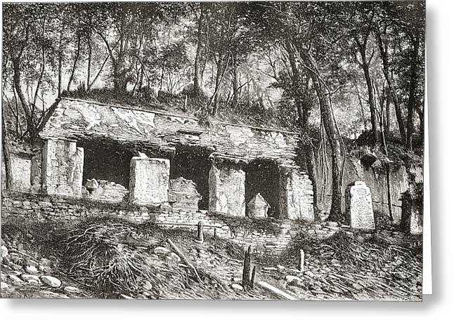 Restoration Drawings Greeting Cards - The Facade Of The Palace At Palenque Greeting Card by Ken Welsh
