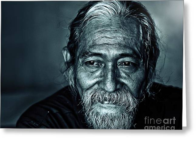 Old Person Greeting Cards - The Face Greeting Card by Charuhas Images