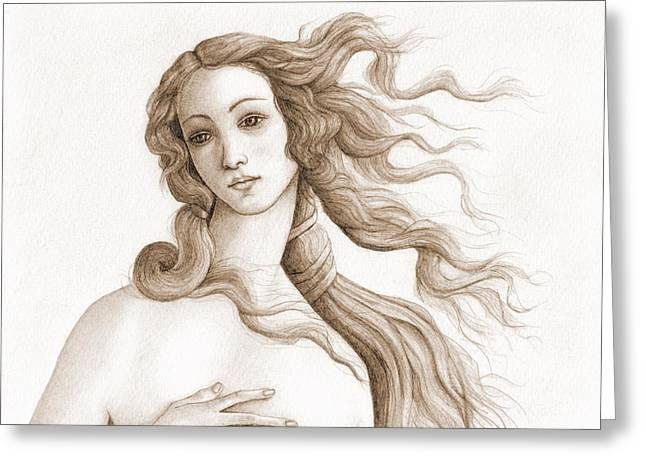Goddess Birth Art Greeting Cards - The face of a goddess in sepia Greeting Card by Stevie The floating artist