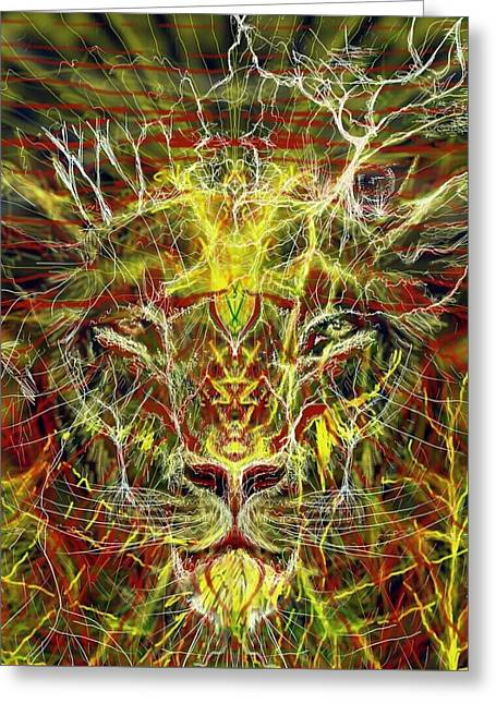 Lions Greeting Cards - The face of destruction Greeting Card by Michael African Visions
