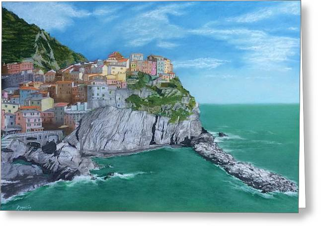 Grey Clouds Pastels Greeting Cards - The Face of Manarola Greeting Card by Harvey Rogosin