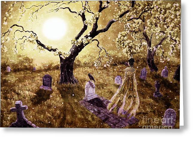 Haunted Digital Art Greeting Cards - The Fading Memory of Lenore Greeting Card by Laura Iverson