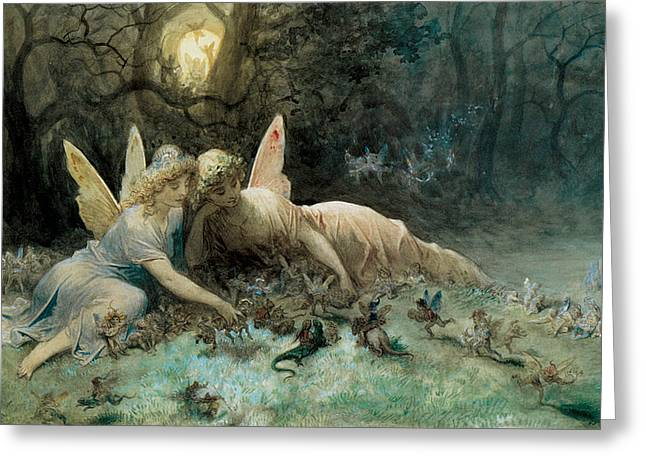 Dore Paintings Greeting Cards - The Fairies  Greeting Card by Gustave Dore