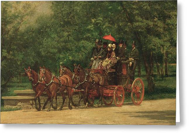 Carriage Horse Greeting Cards - The Fairman Rogers Coach and Four  Greeting Card by Thomas Cowperthwait Eakins