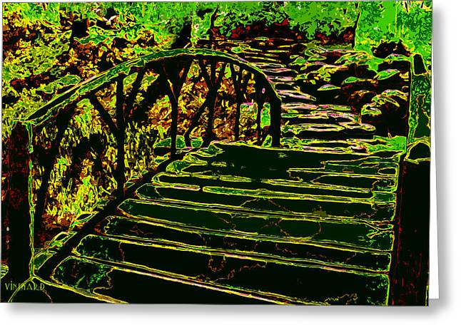 Stepping Stones Greeting Cards - The Fairy Crossing Greeting Card by Susan Vineyard