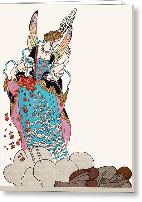 Woman Napping Greeting Cards - The Fairy Godmother Greeting Card by Georges Barbier