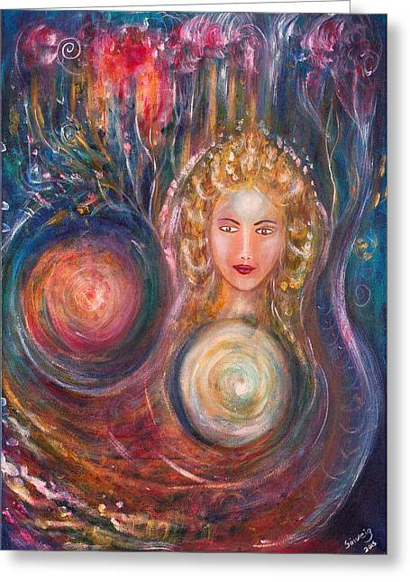 Spiritual Portrait Of Woman Greeting Cards - The Fairy Queen Greeting Card by Solveig Katrin