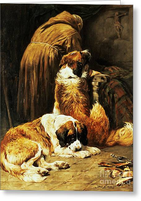 Sleeping Dogs Greeting Cards - The Faith of Saint Bernard Greeting Card by John Emms