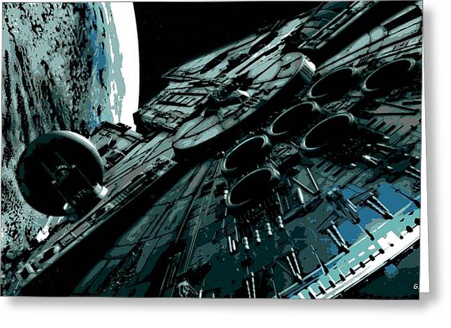 Battle Ship Greeting Cards - the Falcon Greeting Card by George Pedro
