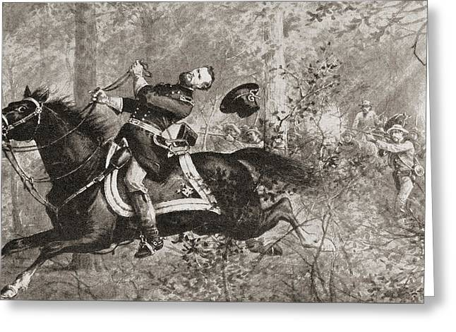 The Fall Of General James Birdseye Mcpherson Greeting Card by American School