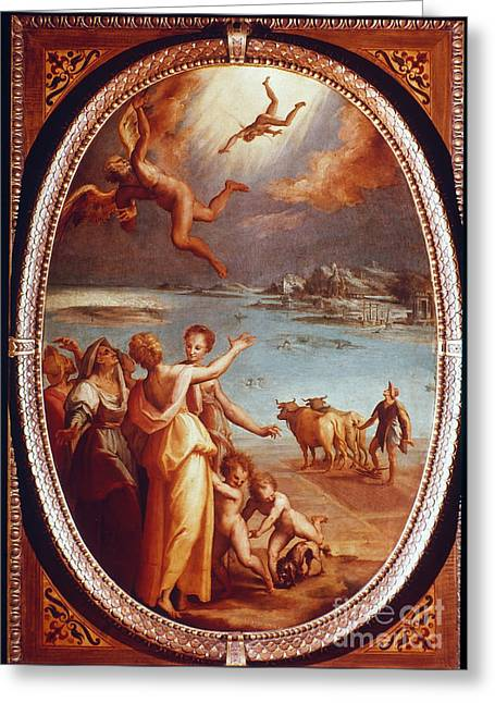 16th Century Greeting Cards - The Fall Of Icarus Greeting Card by Granger