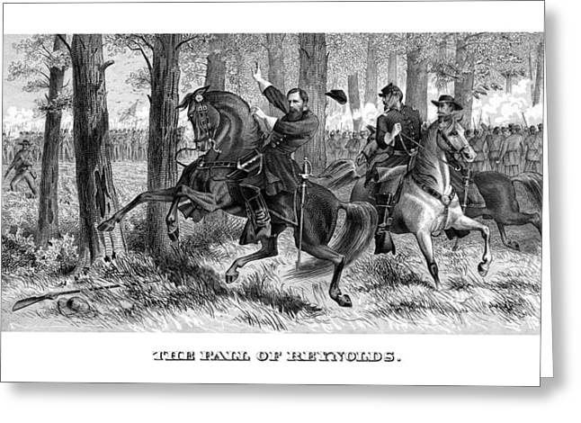 American Civil War Drawings Greeting Cards - The Fall Of Reynolds Greeting Card by War Is Hell Store