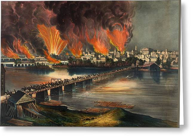 Historical Buildings Drawings Greeting Cards - The Fall Of Richmond On The Night Of April 2nd 1865 Greeting Card by Currier And Ives
