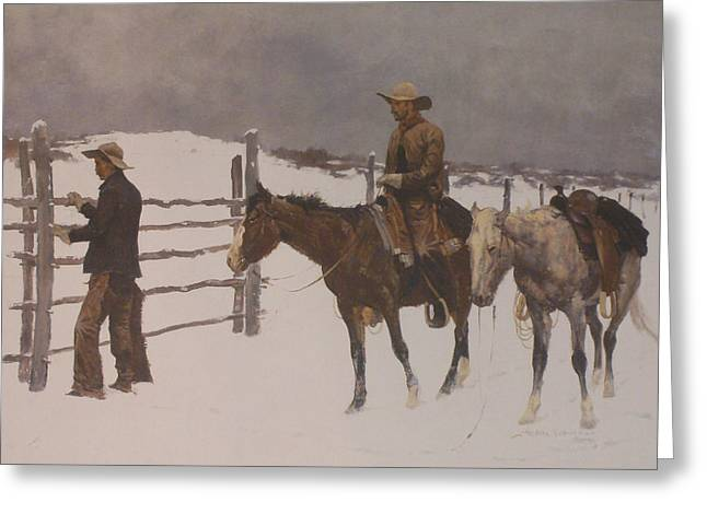 The Horse Greeting Cards - The Fall Of The Cowboy Greeting Card by Frederic Remington