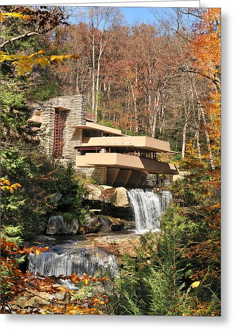 Parapet Greeting Cards - The Fallingwater Greeting Card by Edwin Verin