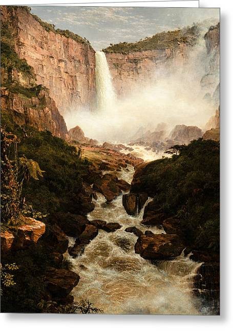 The Falls Of The Tequendama Near Bogota New Granada Greeting Card by Frederic Edwin Church