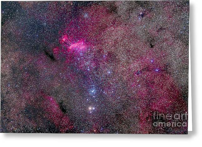 Emission Greeting Cards - The False Comet Cluster Area Greeting Card by Alan Dyer