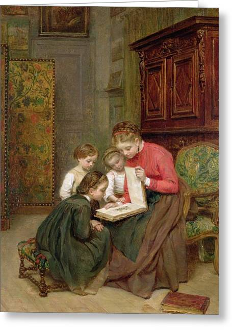 Drawing Room Greeting Cards - The Family Album Greeting Card by Charles Edouard Frere