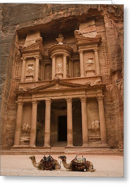 Petra - Jordan Greeting Cards - The Famous Treasury With Two Camels Greeting Card by Taylor S. Kennedy