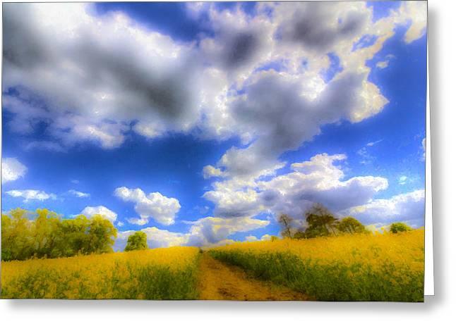 Farmers Field Digital Art Greeting Cards - The Farm Art Vista Greeting Card by David Pyatt