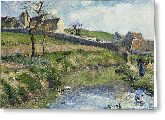 Calm Waters Paintings Greeting Cards - The Farm at Osny Greeting Card by Camille Pissarro