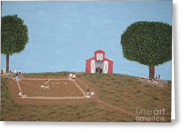 Softball Paintings Greeting Cards - The Farm Diamond Greeting Card by Gregory Davis