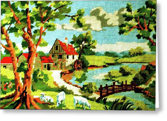 Spring Tapestries - Textiles Greeting Cards - The Farm House Greeting Card by Farah Faizal