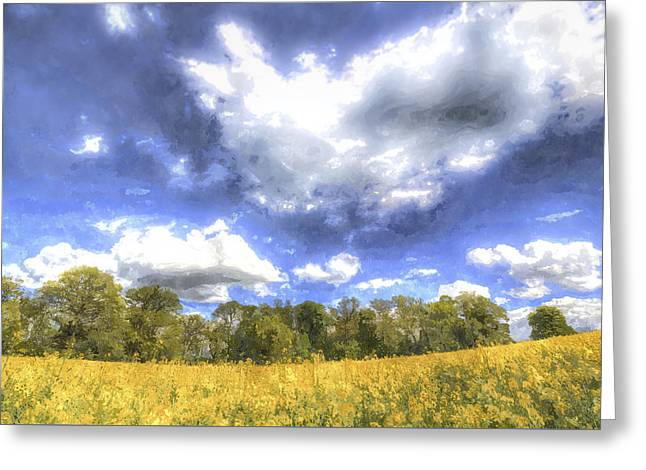 Farmers Field Greeting Cards - The Farm In Summer Art Greeting Card by David Pyatt