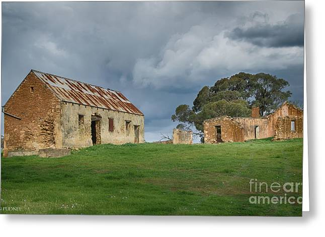 Outbuildings Greeting Cards - The farm Greeting Card by Jan Pudney