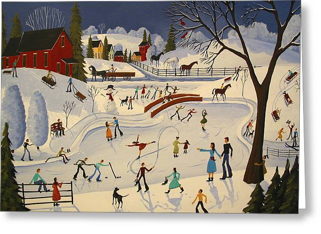 Hockey Paintings Greeting Cards - The Farm Pond - artist folkartmama Greeting Card by Debbie Criswell