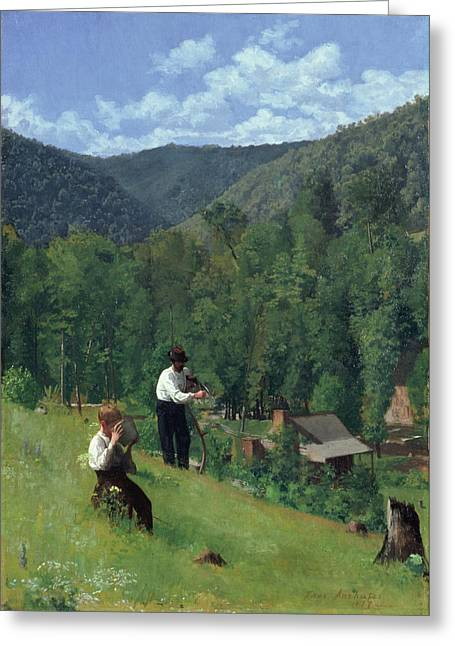 Scythe Greeting Cards - The Farmer and His Son at Harvesting Greeting Card by Thomas Pollock Anschutz