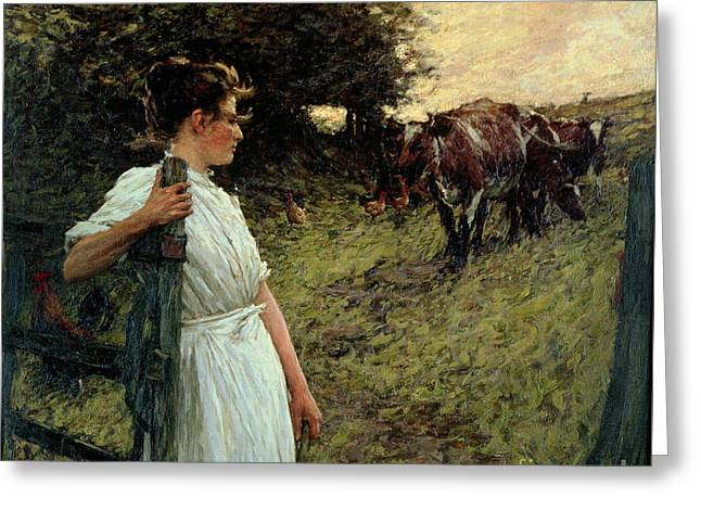 La Thangue; Henry Herbert (1859-1929) Greeting Cards - The Farmers Daughter Greeting Card by Henry Herbert La Thangue