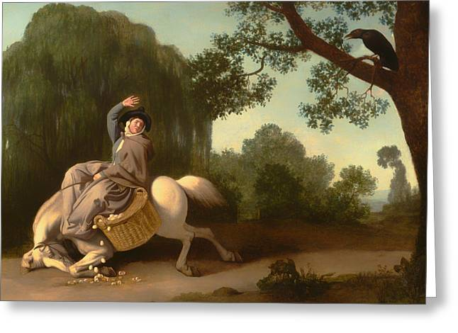Going To Market Greeting Cards - The Farmers Wife And The Raven Greeting Card by George Stubbs