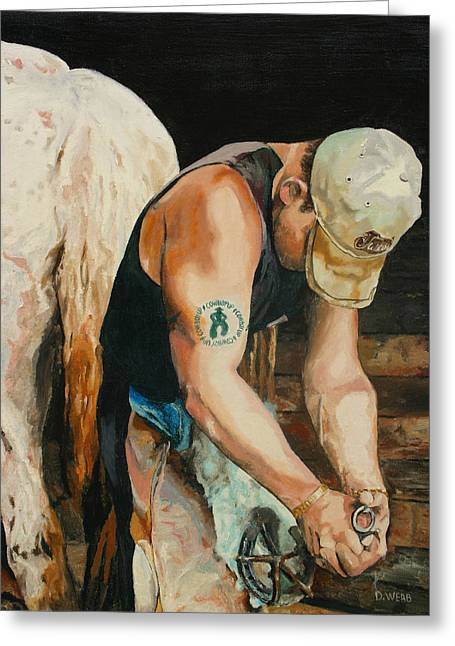Farrier Greeting Cards - The Farrier Greeting Card by Duane Webb