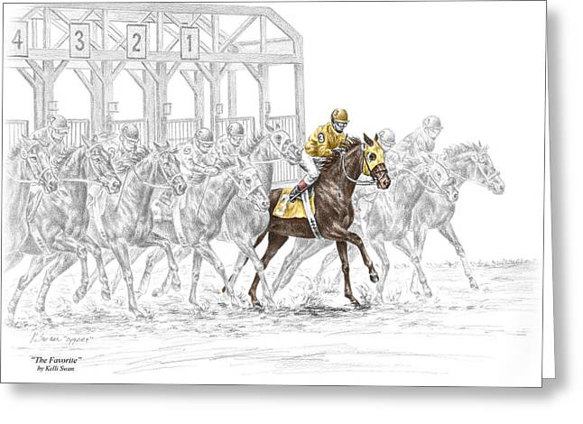 Race Horse Drawings Greeting Cards - The Favorite - Thoroughbred Race Print color tinted Greeting Card by Kelli Swan