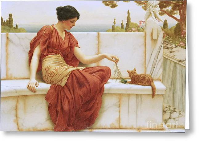 Playful Kitten Greeting Cards - The Favorite Greeting Card by John William Godward